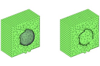Tetrahedral finite cell mesh and STL geometry (left), subdivided finite cell mesh (right)