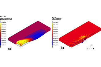 Ultrasonic wave propagation in a honeycomb sandwich plate; (a) Excitation frequency 5 kHz; (b) Excitation frequency 100 kHz